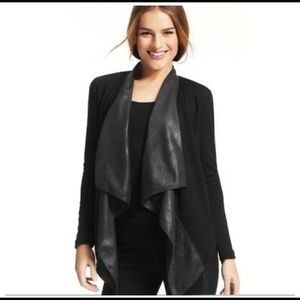 Cabi faux leather open front waterfall cardigan s